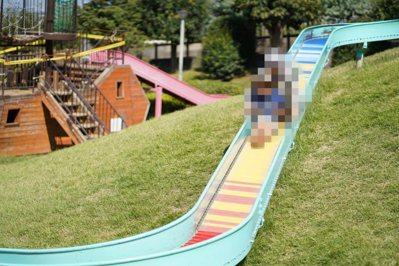 「笛吹市八代ふるさと公園」のローラー滑り台